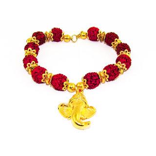 Factorywala Lord Ganesha Charm Shiny Gold Plated  Rudraksh Bracelet/Band For Womens/Girls