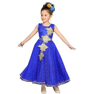 Mid Age Blue Net Ball Gown