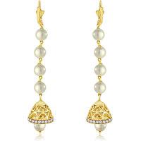 Spargz Gold Plated Ball Shape Long Peal Hook Earrings For Women AIER598