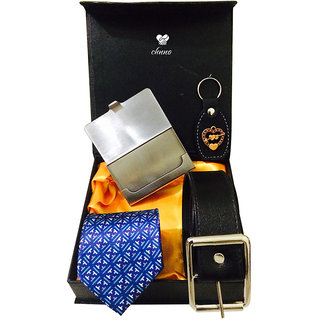 Chnno Festive gifts blue tie, black belt card holder  black key chain combo pack in box No4