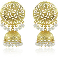 Spargz Round Gold Plated Peal Earrings With Jhumka Drop For Women AIER 602