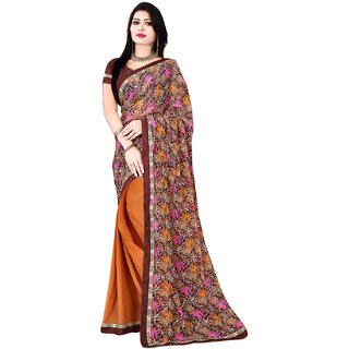 SuratTex Brown Georgette Floral Print Saree With Blouse