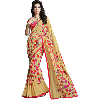 Sareemall Yellow Georgette Saree with Unstitched Blouse