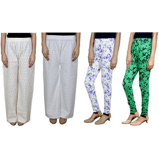 IndiWeaves Women Attractive Combo Pack offer 2 Chikan Palazzo with 2 Printed Leggings (Set of 4)