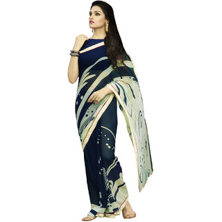 Sareemall Neavy Blue  Cream Georgette Saree with Unstitched Blouse