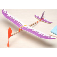 Magideal DIY Assembly Airplane Aircraft Model Launched Powered By Rubber Band Purple