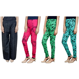 IndiWeaves Women Attractive Combo Pack offer 1 Chikan Palazzo with 3 Printed Leggings (Set of 4)
