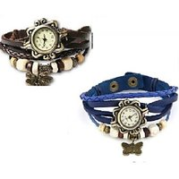 Ladies Watches , Vintage Watch, Designer Watches , Butterfly Hanging Watch, Party Wear Fashion Watch - Black And Blue,