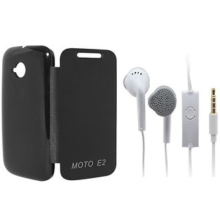 Ready Durable PU Leather Flip Cover For Motorola Moto E2 (Black)+Handsfree for Samsung and all 3.5 mm jack Mobile  Accessory Combo
