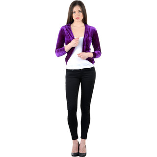 NumBrave Purple Velvet Solid Shrug