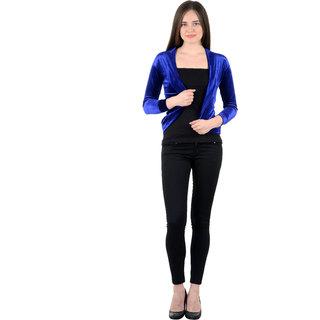 NumBrave Blue Velvet Solid Shrug
