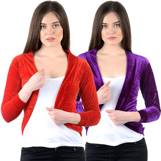 NumBrave Red Purple Velvet Solid Shrug (Pack of 2)