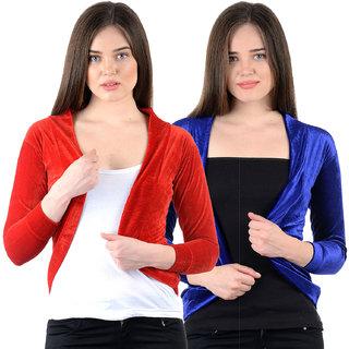 NumBrave Red Blue Velvet Solid Shrug (Pack of 2)