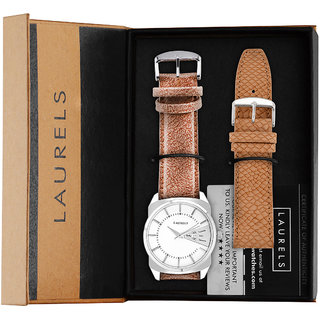 Laurels Round Dial Brown Analog Watch For Men-Lo-Inc-201S