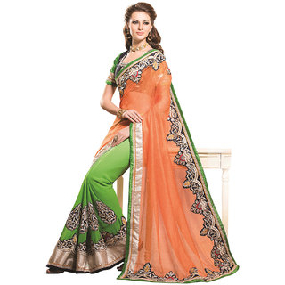 SuratTex Green Cotton Embroidered Saree With Blouse