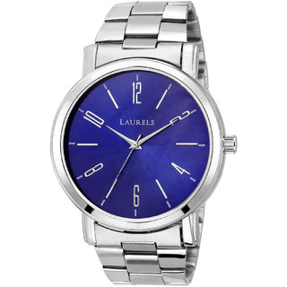 Laurels Round Dial Silver Analog Watch For Men-Lo-Svt-0307