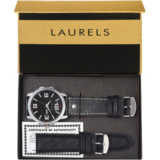 Laurels Round Dial Black Analog Watch For Men-Lo-Dxtr-020207