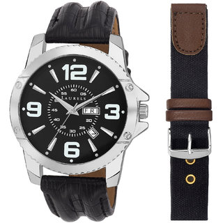 Laurels Round Dial Black Analog Watch For Men-Lo-Zs-020207S