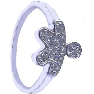 Ankit Collection Sterling Silver Zircon Ring (Size 12)