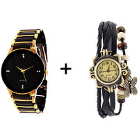 Iik Combo Of Black  Golden Quartz Analog Watch For Man With Black Designer Leather Analog Watch For Woman