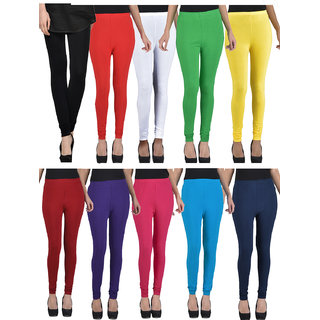 Kjaggs Pack Of 10 Multicolor Cotton Lycra legging -KTL-TN-1-2-3-4-5-6-7-8-9-10
