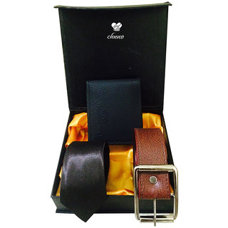 Chnno Festive gifts black  Tie, black belt, and black wallet combo pack in box No29
