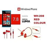 Nokia WH-208 In-the-ear Headset Red Stereo Handsfree Headset Mic Lumia