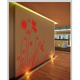Gloob Decal Style Floral At Wall Sticker (72*60)