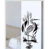 Gloob Decal Style Crane Bird Wall Sticker (24*12)