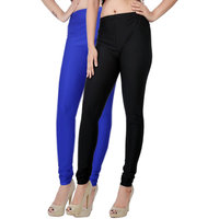 Fashion And Freedom Pack of 2 Black And Blue Satin Leggings