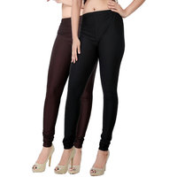 Fashion And Freedom Pack of 2 Black And Brown Satin Leggings