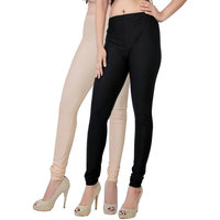 Fashion And Freedom Pack of 2 Black And Cream Satin Leggings