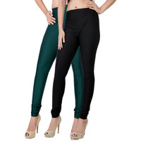 Fashion And Freedom Pack of 2 Black And DarkGreen Satin Leggings