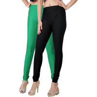 Fashion And Freedom Pack of 2 Black And Green Satin Leggings