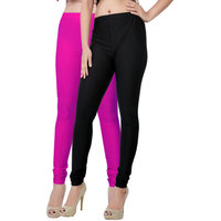 Fashion And Freedom Pack of 2 Black And Magenta Satin Leggings