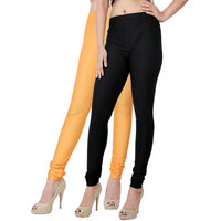 Fashion And Freedom Pack of 2 Black And Orange Satin Leggings