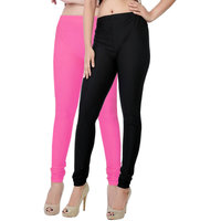Fashion And Freedom Pack of 2 Black And Pink Satin Leggings