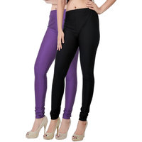 Fashion And Freedom Pack of 2 Black And Purple Satin Leggings