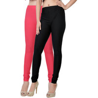 Fashion And Freedom Pack of 2 Black And Red Satin Leggings