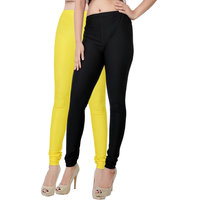Fashion And Freedom Pack of 2 Black And Yellow Satin Leggings