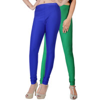 Fashion And Freedom Pack of 2 Blue And Green Satin Leggings