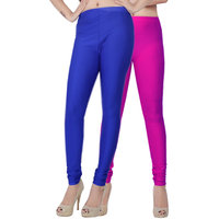 Fashion And Freedom Pack of 2 Blue And Magenta Satin Leggings