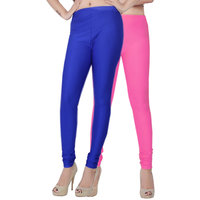 Fashion And Freedom Pack of 2 Blue And Pink Satin Leggings