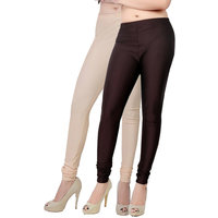 Fashion And Freedom Pack of 2 Cream And Brown Satin Leggings