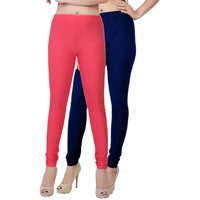 Fashion And Freedom Pack of 2 Red And Navy Satin Leggings