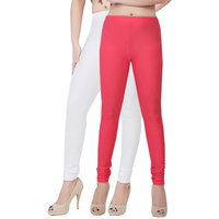 Fashion And Freedom Pack of 2 White And Red Satin Leggings