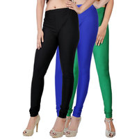 Fashion And Freedom Pack of 3 Black,Blue And Green Satin Leggings