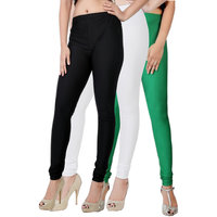Fashion And Freedom Pack of 3 Black,White And Green Satin Leggings