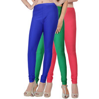 Fashion And Freedom Pack of 3 Blue,Green And Red Satin Leggings