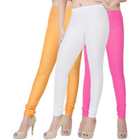 Fashion And Freedom Pack of 3 Orange,Wihte And Pink Satin Leggings